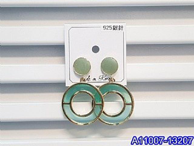 正韓S925純銀 鏤空雙色透明樹脂圓環耳環   耳針 韓式