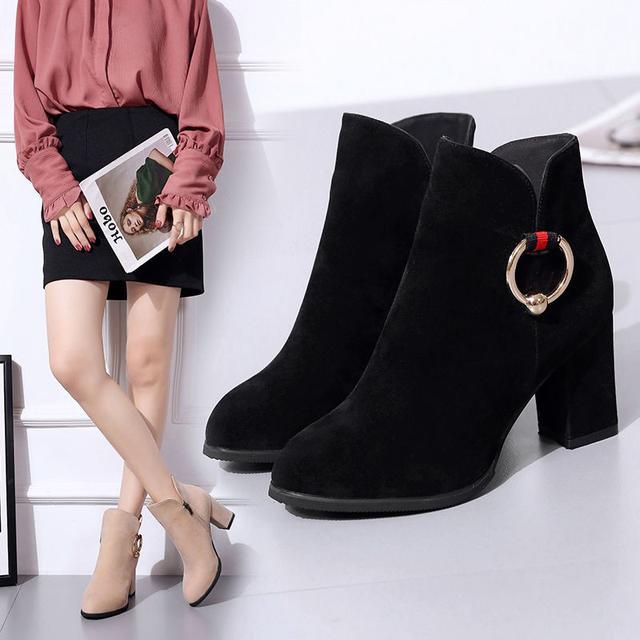 粗跟短靴高跟鞋尖頭磨砂時尚百搭