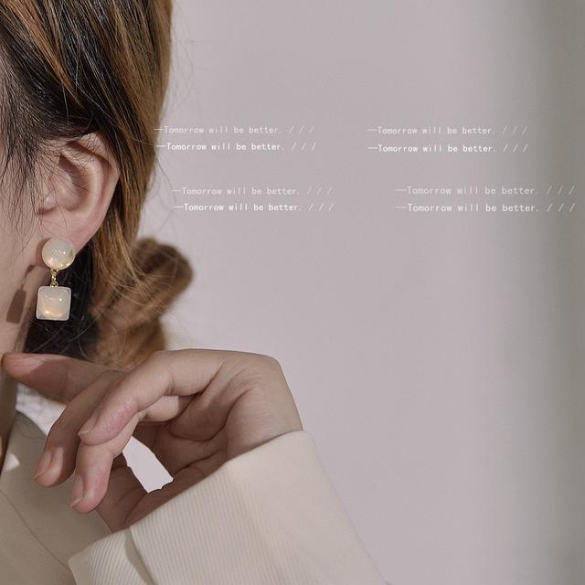 925銀針壓克力方形耳環 韓國東大門時尚網紅氣質小眾耳釘耳飾