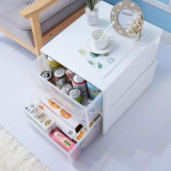 簡單日式 抽屜式收納柜 透明塑膠收納箱 抽屜櫃雜物儲物箱