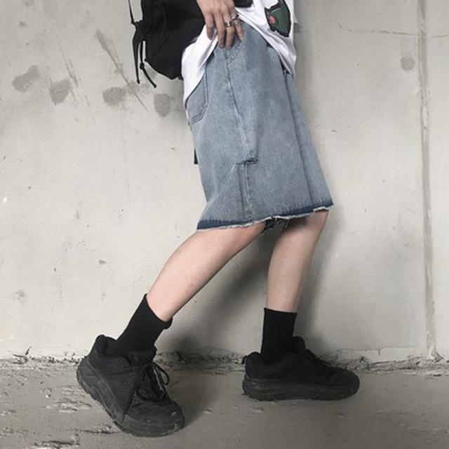 0617 M-XL 男女款 復古水洗破洞闊腿五分牛仔褲