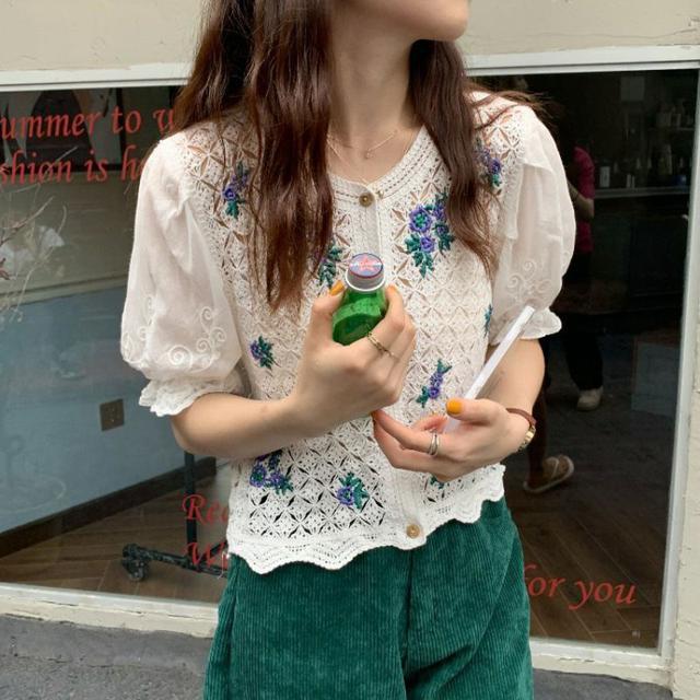 新款韓版鏤空鉤花刺繡拼接重工短袖喇叭袖開衫上衣女