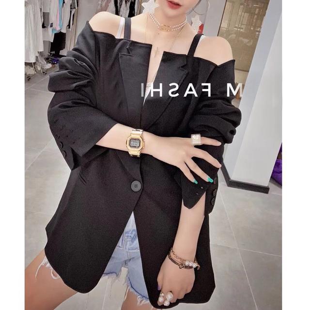 2020夏新款韩版长袖小心机设计感露肩吊带小西装外套女短裙,