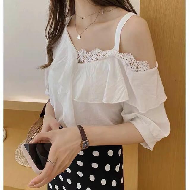 一字肩上衣女2020夏季新款韓版荷葉邊雪紡襯女短袖洋氣小衫打底衫