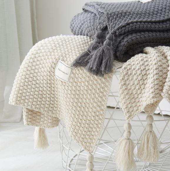 北歐風 流蘇針織沙發毯毛毯