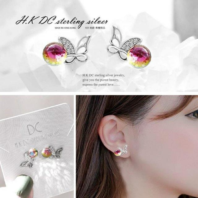 H.K DC 925純銀-<極光彩耀水晶>蝴蝶鋯石鑲鑽線條設計款耳環