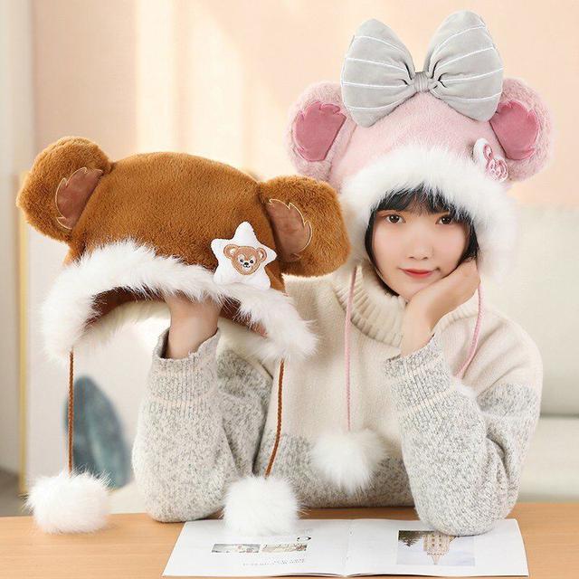 🌼可愛达菲小熊芭蕾舞紫色兔子卡通毛绒保暖護耳卡通防寒防風帽子