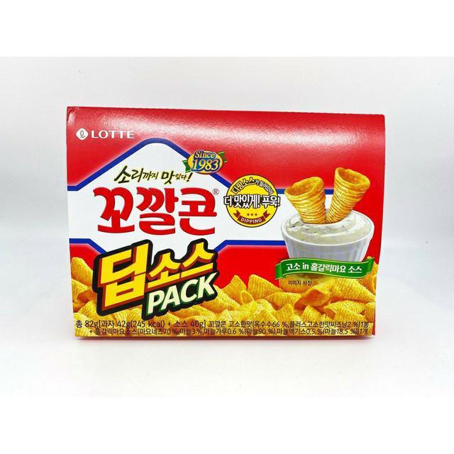 韓國 LOTTE 樂天 蒜味美乃滋沾醬 金牛角餅乾 82g  (餅乾42g+美乃滋醬40g)