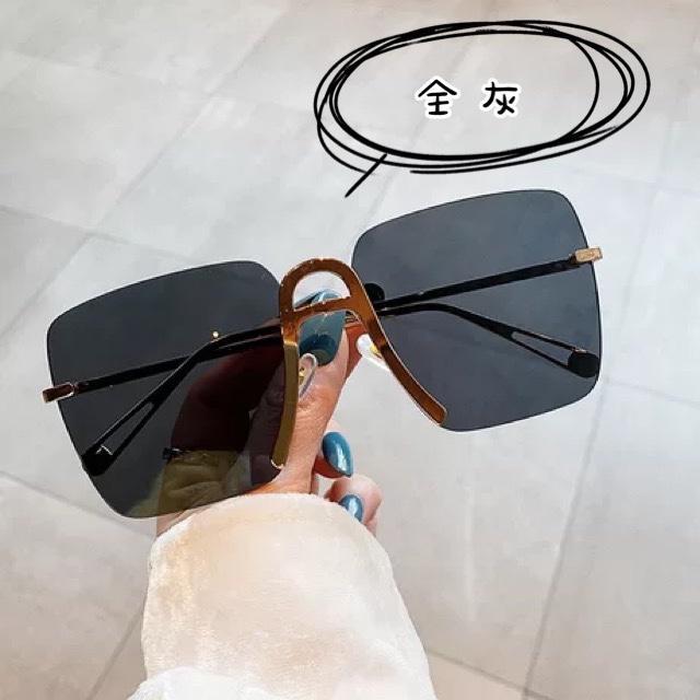 ins超火眼鏡無框切邊太陽眼鏡氣質方框墨鏡時尚防紫外線