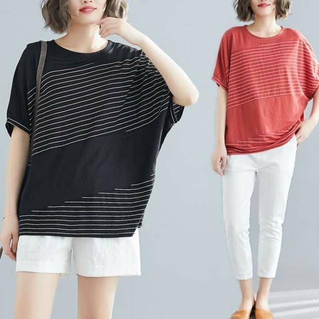 寬鬆顯瘦圓領垂肩袖衫 (均碼 L~3XL適穿)