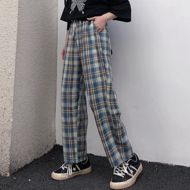 0617 M-XL 男女款 復古ins格子直筒闊腿褲