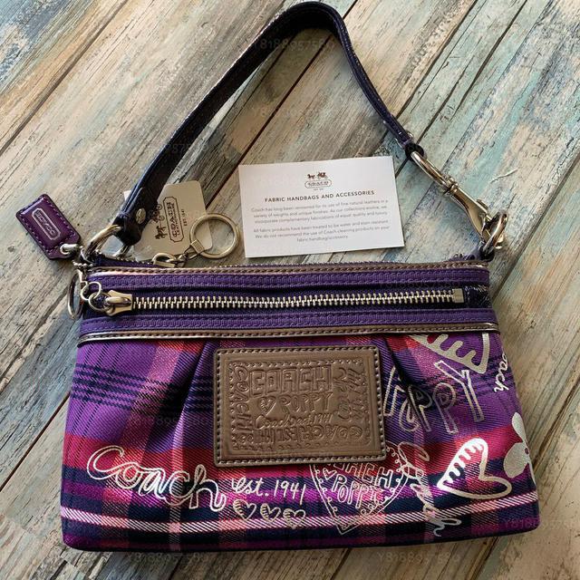 全新真品 Coach 44562 Poppy 紫色格紋小手提包