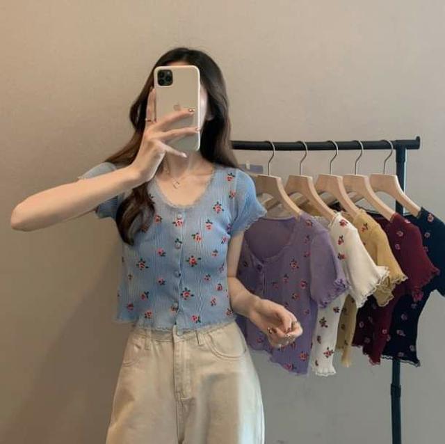 韓版復古印花中短款薄針織衫 ( 6色 )
