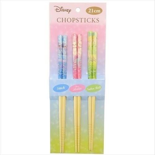 現貨 日本 正品 迪士尼 史迪奇 奇妙仙子 瑪麗貓 木製 筷子