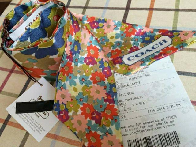 全新真品 Coach 84525 花朵絲巾