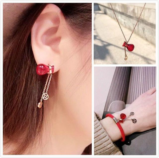 預購商品12/07結單  可愛小葫蘆 幸運紅色手鍊項鍊耳針飾品