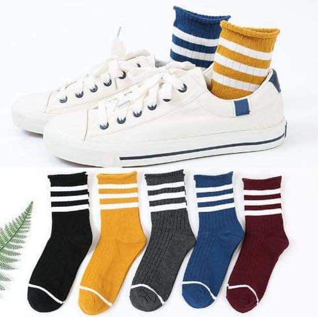 (預購S) 出口日本原宿風三條杠中筒襪(一組6雙)