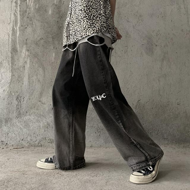 0615 M-XL 暗黑系漸變做舊水洗牛仔闊腿褲拖地褲