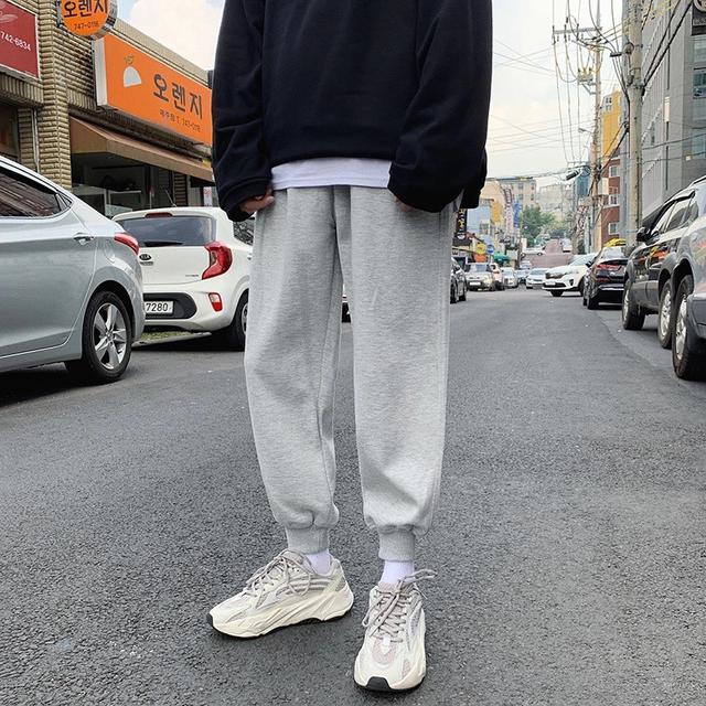 春季男士休闲裤宽松裤子男学生韩版纯色运动裤潮流九分裤束脚男裤