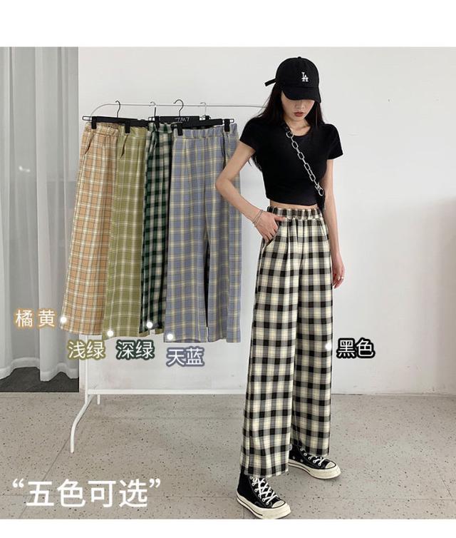 寬鬆直筒褲子女春秋新款格子褲