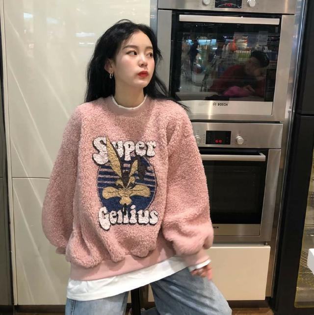 (預購s+) 甜美韓版假二件羊羔絨衛衣