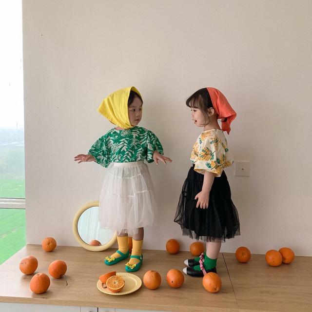 🔥女童連衣裙 2021夏裝新款洋氣短袖花邊女童碎花裙外貿公主裙韓版