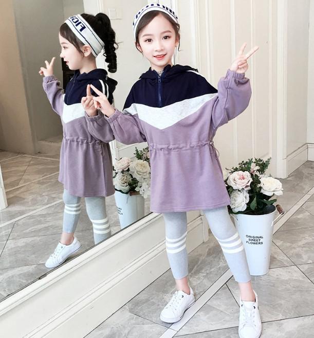 11 110-160 韓國童裝 連帽收腰套裝 29191