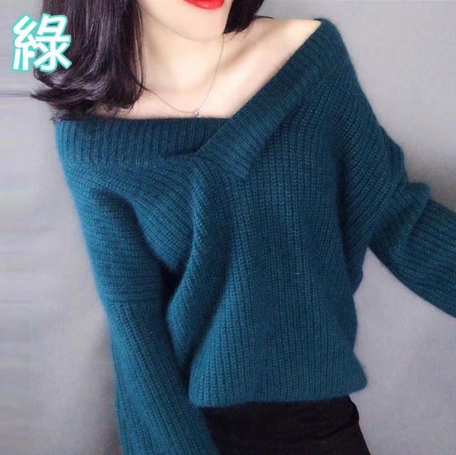 韓版時尚簡約大V領毛衣