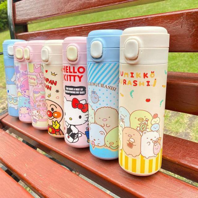 (預購S) G573 - 出口日本卡通繽紛色彩彈跳保溫瓶