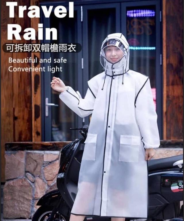 可拆卸雙帽檐透明雨衣