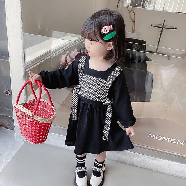 秋季新款寶寶秋装女童學院風格子套装裙(貝)