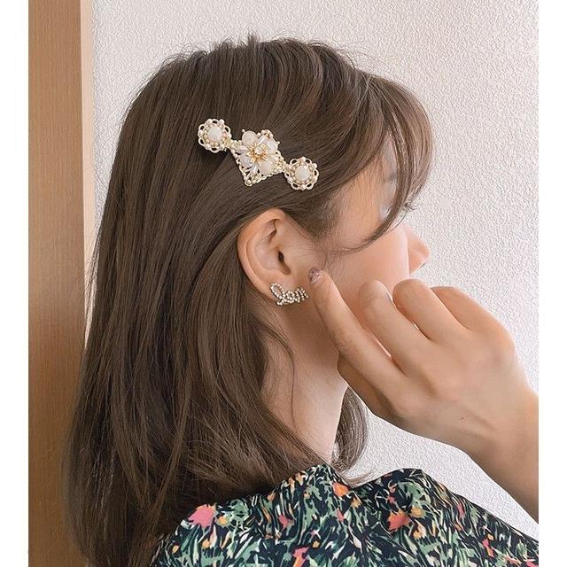 🌟現貨🌟正韓巴洛克輕奢珍珠水晶花朵鴨嘴夾 橘白二色