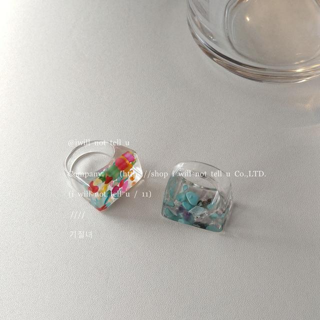 時尚新款個性幾何亞克力樹脂戒指女碎石網紅氣質誇張指環