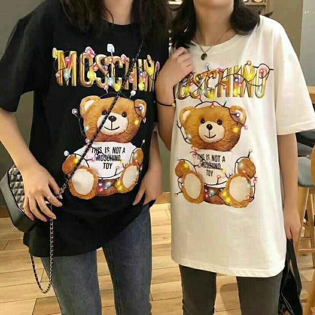 2019夏季新款莫斯奇諾MOSCHINO彩色燈泡熊男女短袖T恤女純棉寬松