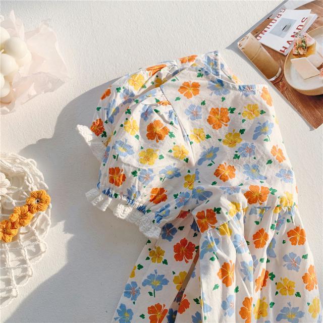 韓國童裝批發2021夏款女童公主裙夏季甜美花朵碎花裙韓版連衣裙