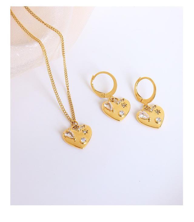 法式IG風個性複古鋯石桃心耳釘項鍊鈦鋼鍍18真金套裝