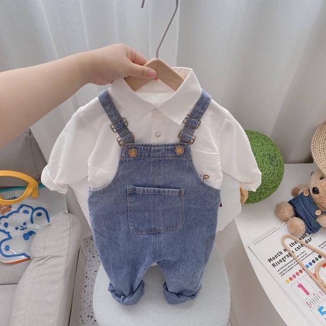 WKD05-1 小清新襯衫吊帶褲套裝2件組