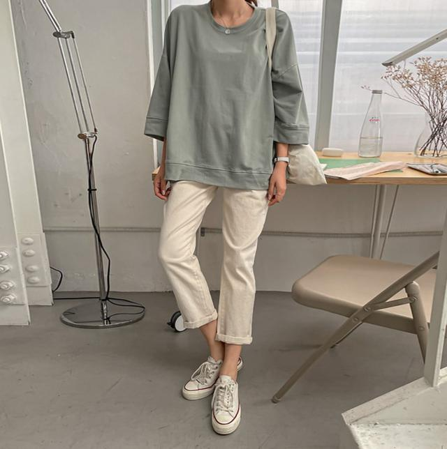 正韓 圓領素色反車線寬版棉質上衣