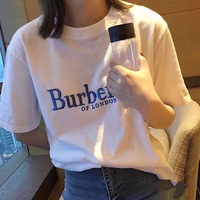 春夏新款bbr立體刺繡字母純棉T恤男女情侶寬松簡約短袖韓版