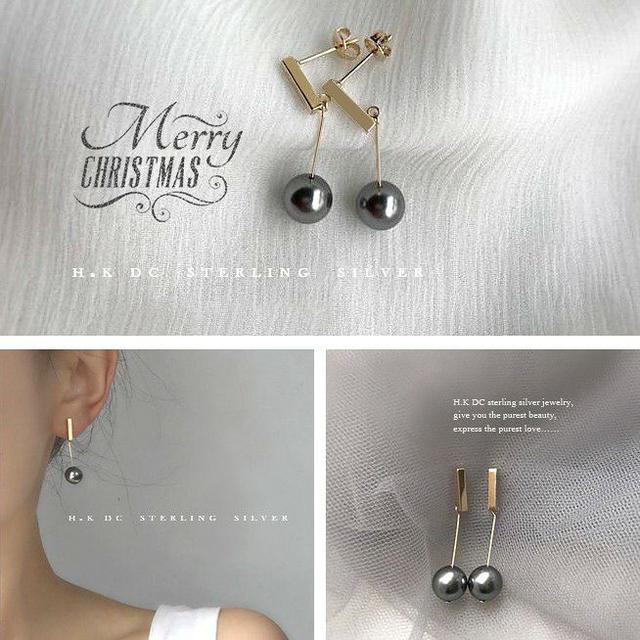 叮叮噹聖誕黑珍珠金耀氣質耳環