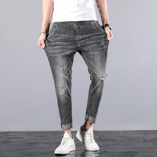 28~38) 優質潮牌彈力水洗破洞牛仔小腳褲