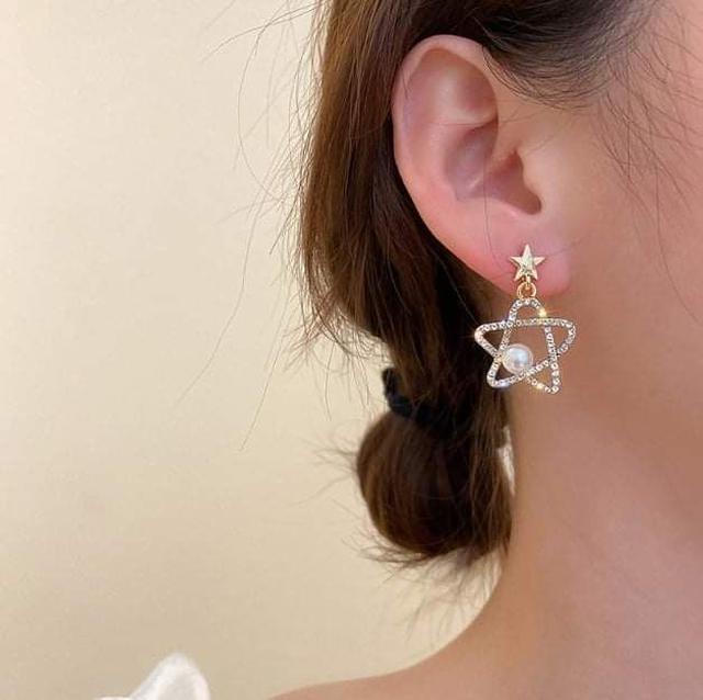 (預購S) H227 - 韓國925銀針五角星珍珠鑽耳環