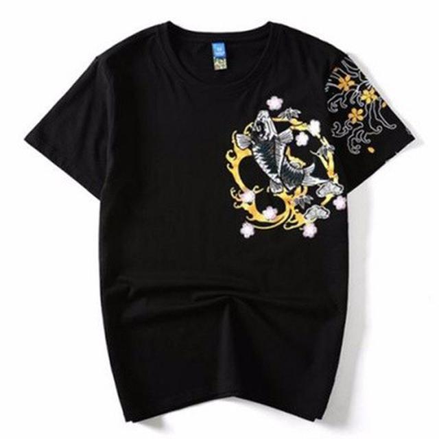 06 M-4XL  優質潮牌重工刺繡鯉魚短袖T恤(2色)