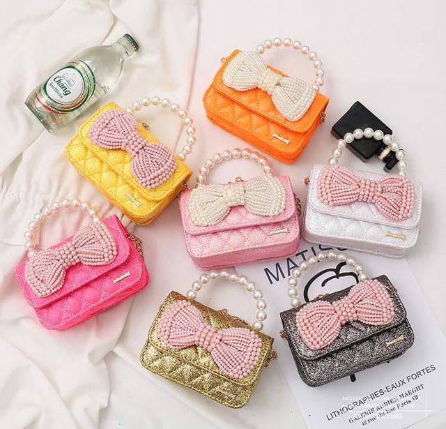 【預購】兒童珍珠蝴蝶結兩用包