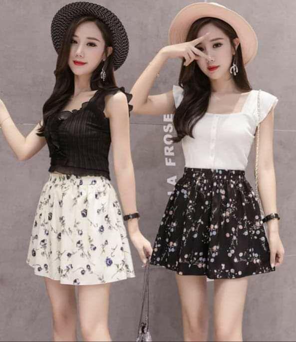 A001-寬鬆印花褲裙