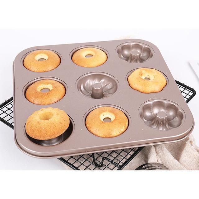 9連蛋糕烤盤 三花型蛋糕模 甜甜圈模具 中空不沾蛋糕模具 曲奇餅乾模具