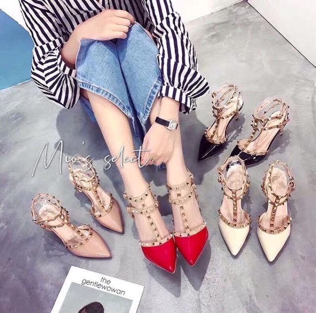 Mio's全年熱賣款氣場女王單品現貨供應中聖誕節跨年派對女王跑趴必備漆皮涼鞋尖頭涼鞋卯釘高跟涼鞋跟鞋