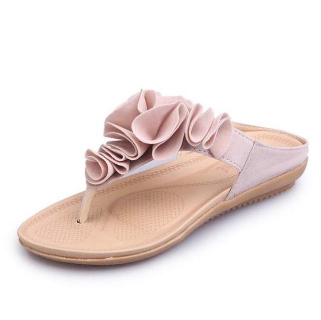 波西米亞夾趾拖鞋女式花朵涼拖鞋