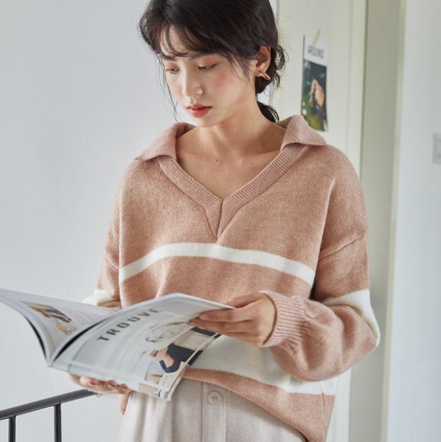 11 學院風V領條紋毛衣(2色)