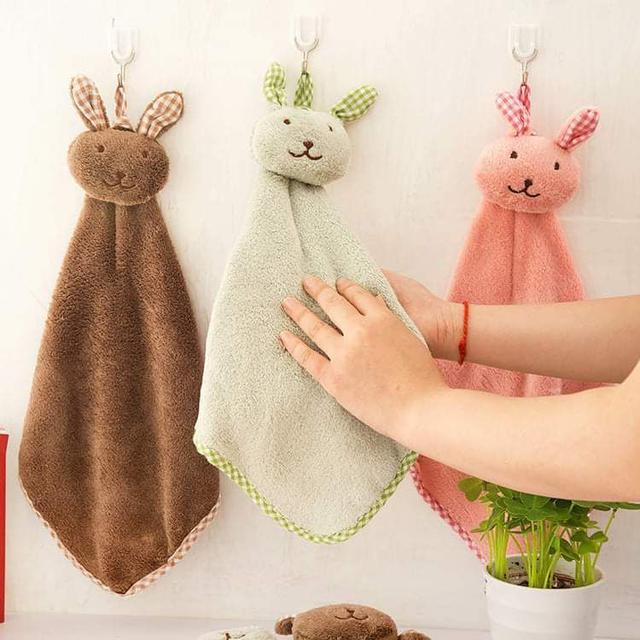 (預購S) G870 - 兔子可掛式珊瑚絨擦手巾(一組4條)